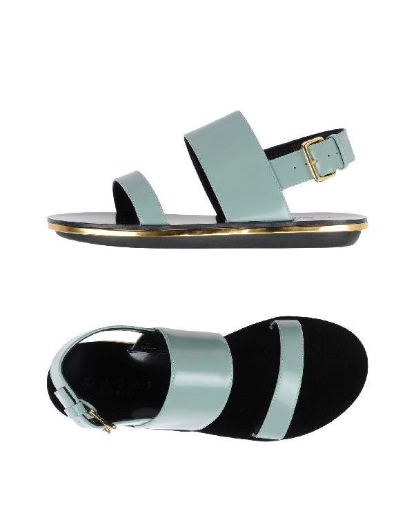 Marni Leather Sandals In Mint
