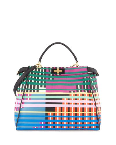 Fendi Peekaboo Large Printed Satchel Bag, Multicolor