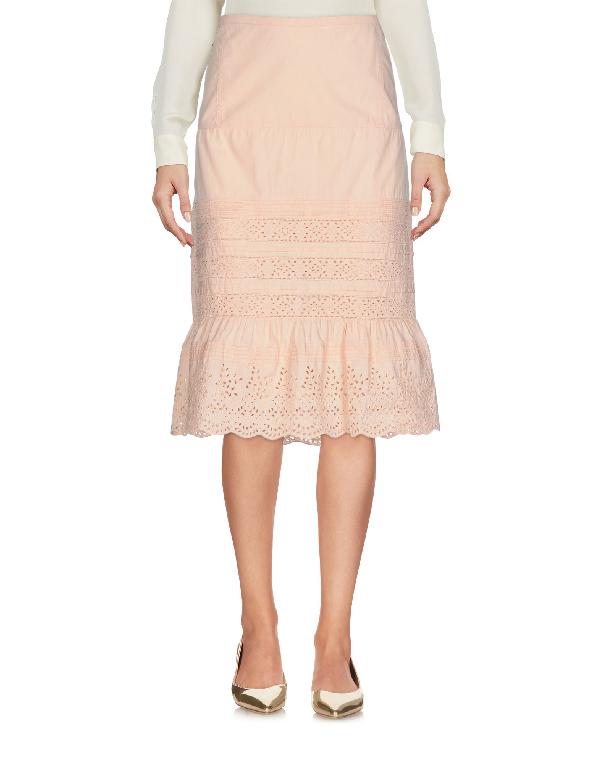 Miu Miu Knee Length Skirts In Apricot