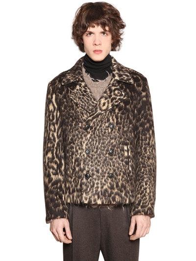 Etro Double Breasted Faux Leopard Fur Jacket