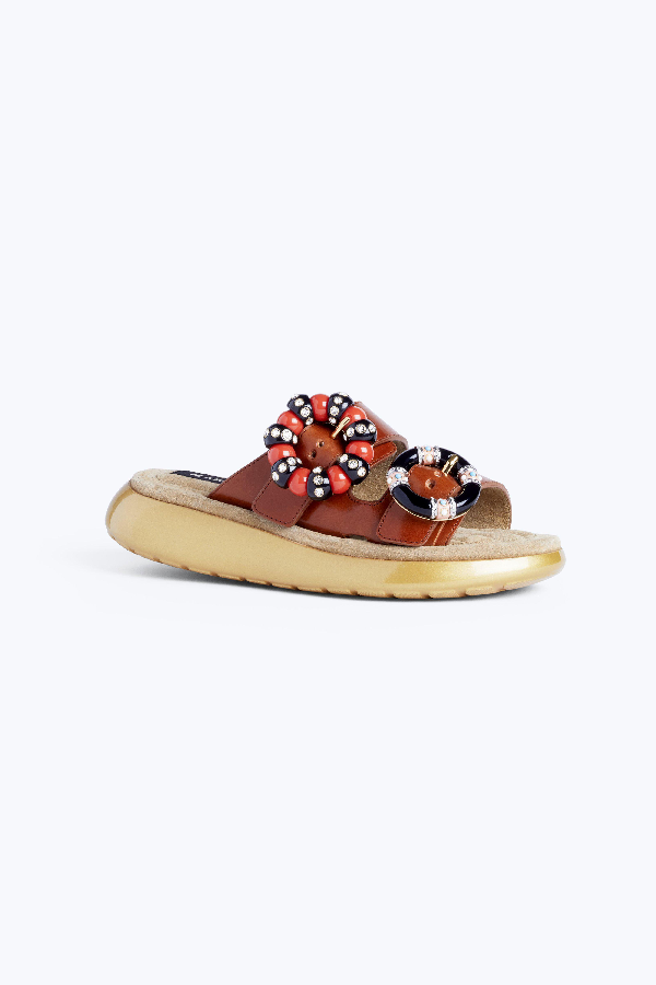 Marc Jacobs Sage Embellished Leather Slides In Luggage