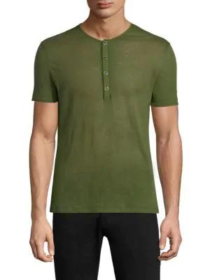 John Varvatos Short Sleeve Henley In Algae