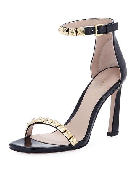 fb4bdf4c1a4d Stuart Weitzman leather sandal with golden rose metal studs. 4