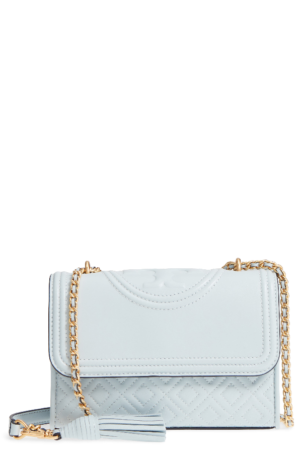 Tory Burch Small Fleming Leather Convertible Shoulder Bag - Blue In Seltzer