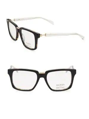 Balmain 59mm Square Clear Tortoiseshell Eyeglasses In Black Tort