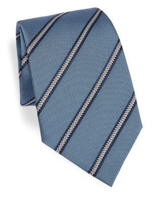 Emporio Armani Stripe Silk Tie In Soft Blue