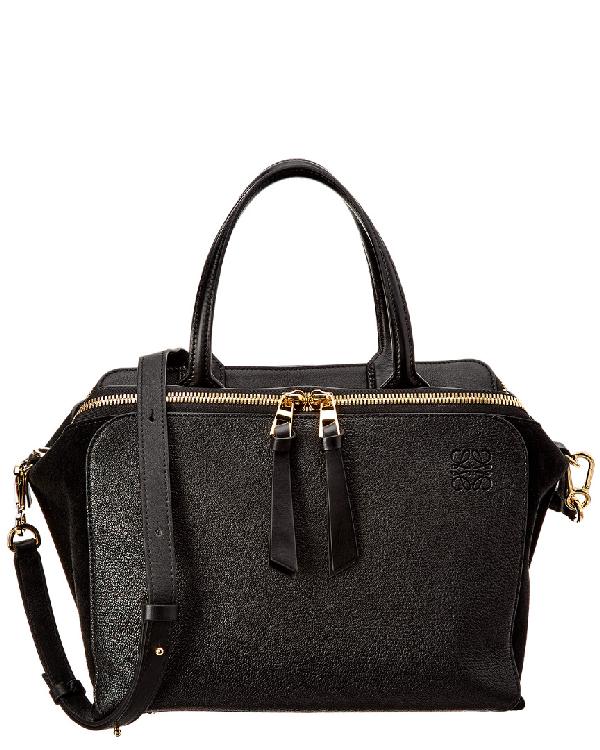 Loewe Leather Zipper Bag In Black