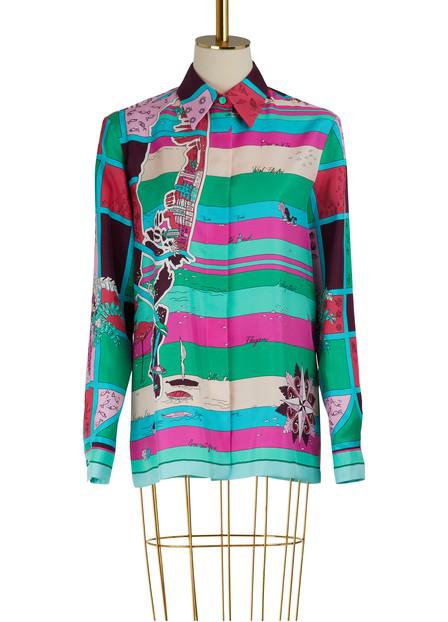 Emilio Pucci Florida Printed Silk Shirt In Multicolor