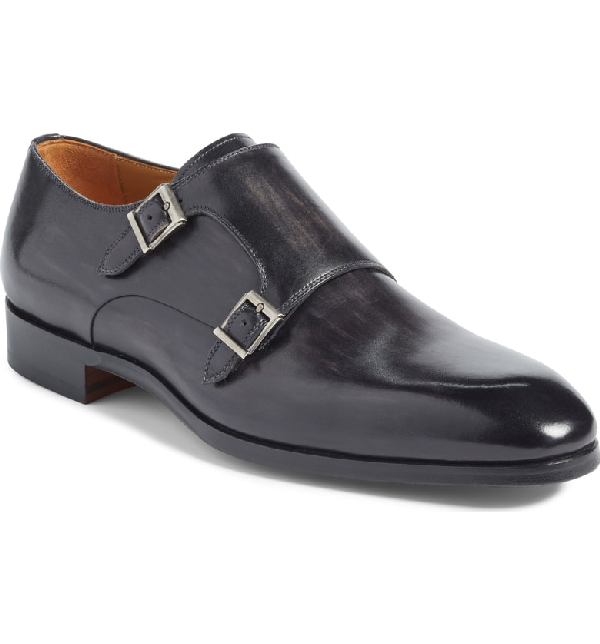 Magnanni Lucio Double Strap Monk Shoe In Light Grey Leather