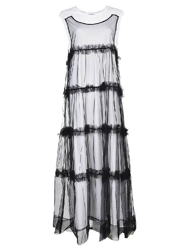 Parosh Tulle Overlayered Dress In Black