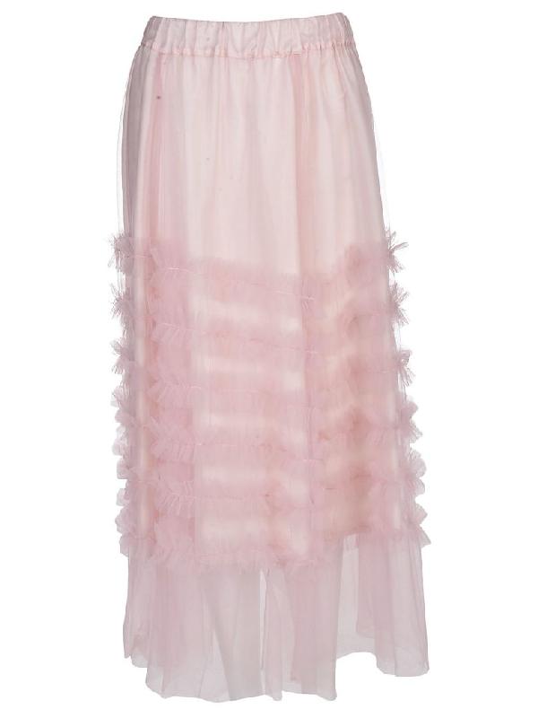 Parosh Long Ruffle Skirt In Fior Di Pesco
