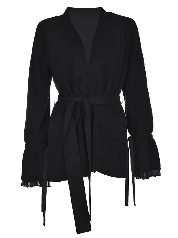 Sacai Belted Cardigan In Black