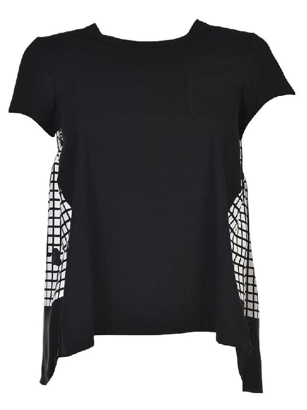 Sacai Side Paneled T-shirt In Black