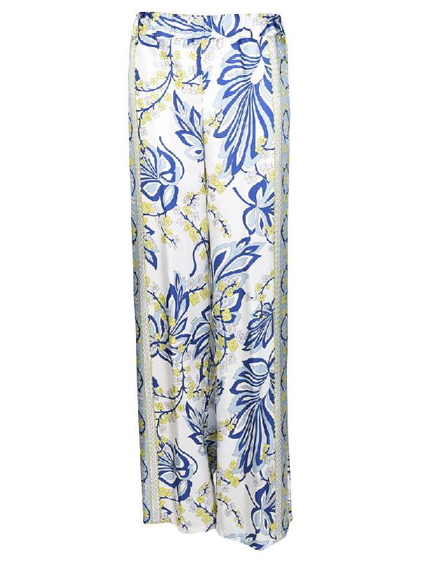 Parosh Floral Print Trousers In Fantasia Azzurro