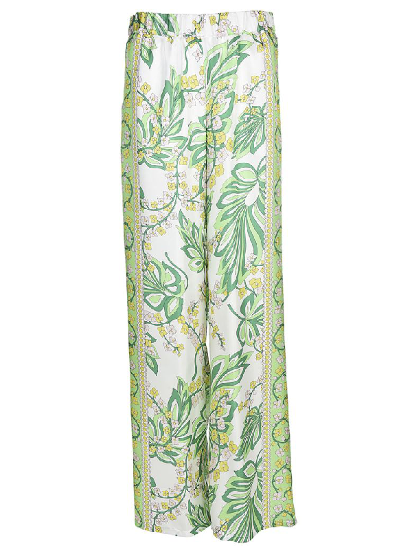 Parosh Floral Print Trousers In Green