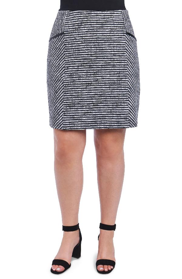 Foxcroft Jemma Stripe Knit Skirt In Ivory/ Black