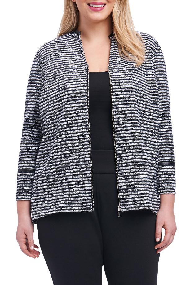 Foxcroft Irina Stripe Knit Jacket In Ivory/ Black
