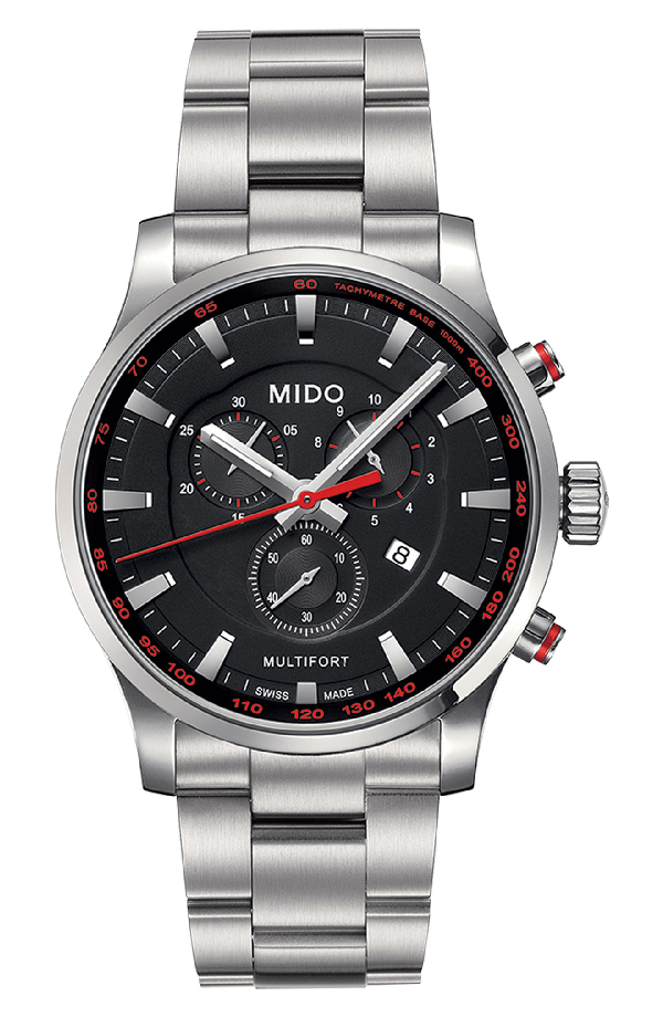 Mido Multifort Chronograph Bracelet Watch, 42mm In Silver/ Black/ Silver