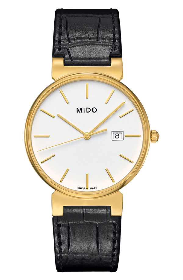 Mido Dorada Leather Strap Watch, 38mm In Black/ White/ Gold