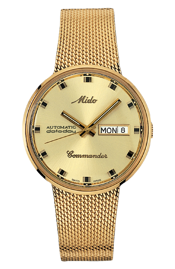 Mido Commander Automatic Mesh Strap Watch, 37mm In Gold/ Yellow/ Gold