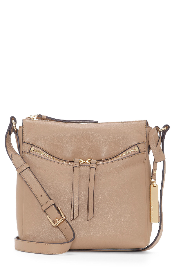Vince Camuto Staja Leather Crossbody Bag - Brown In Cappuccino