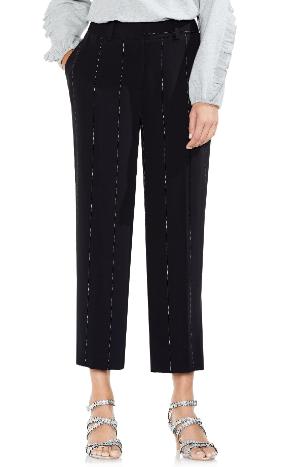 Vince Camuto Wide Chalk Stripe Crop Pants In Rich Black