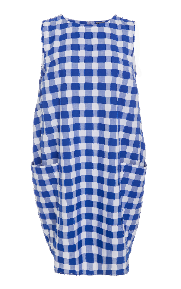 Mds Stripes Sleeveless Shift Dress In Blue
