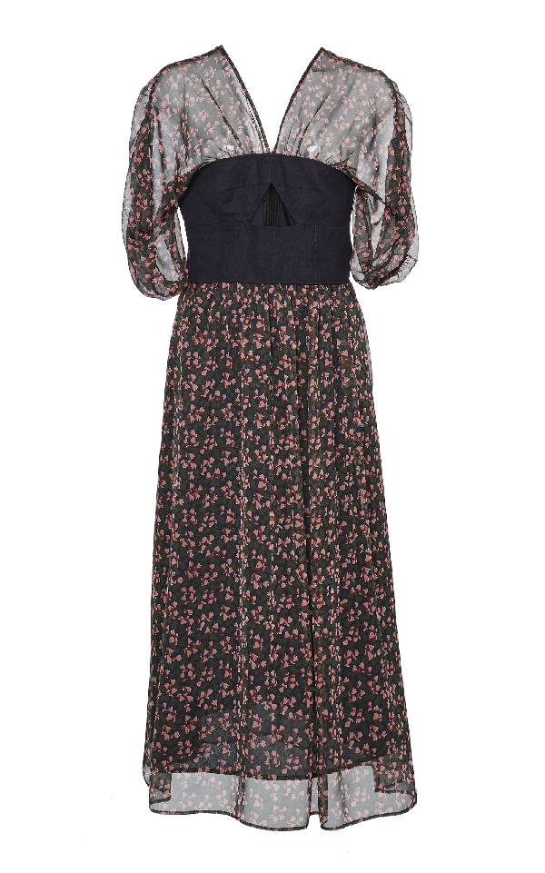 Alexa Chung Bella Cutout Chiffon Midi Dress In Floral
