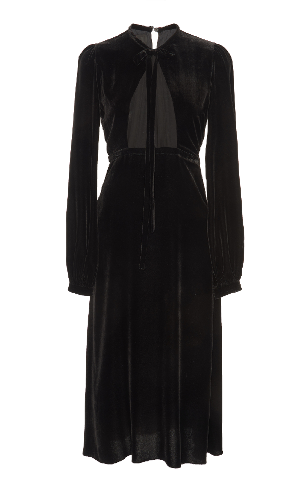 Rochas Velvet Midi Dress In Black