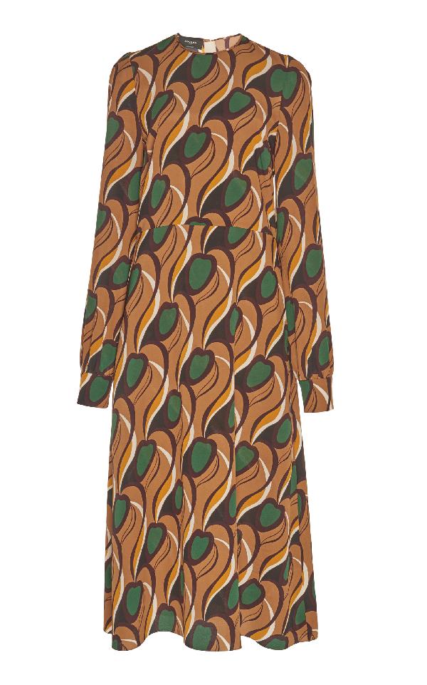 Rochas Printed Long Sleeve Dress In Brown