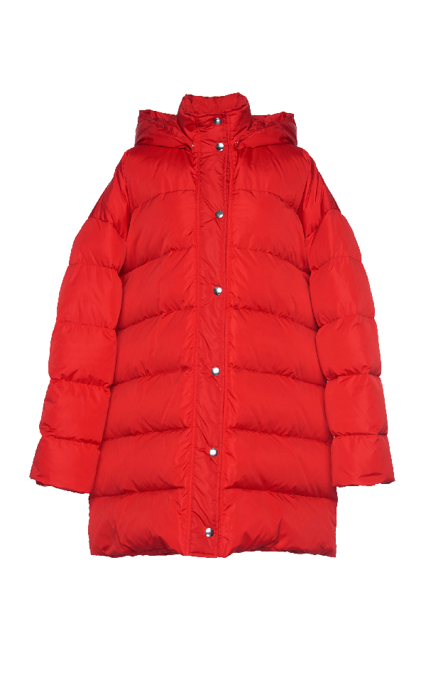 Msgm Oversized Down Coat In Red