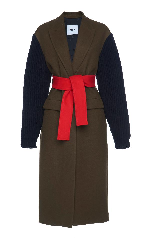 Msgm Color Block Belted Coat In Multi