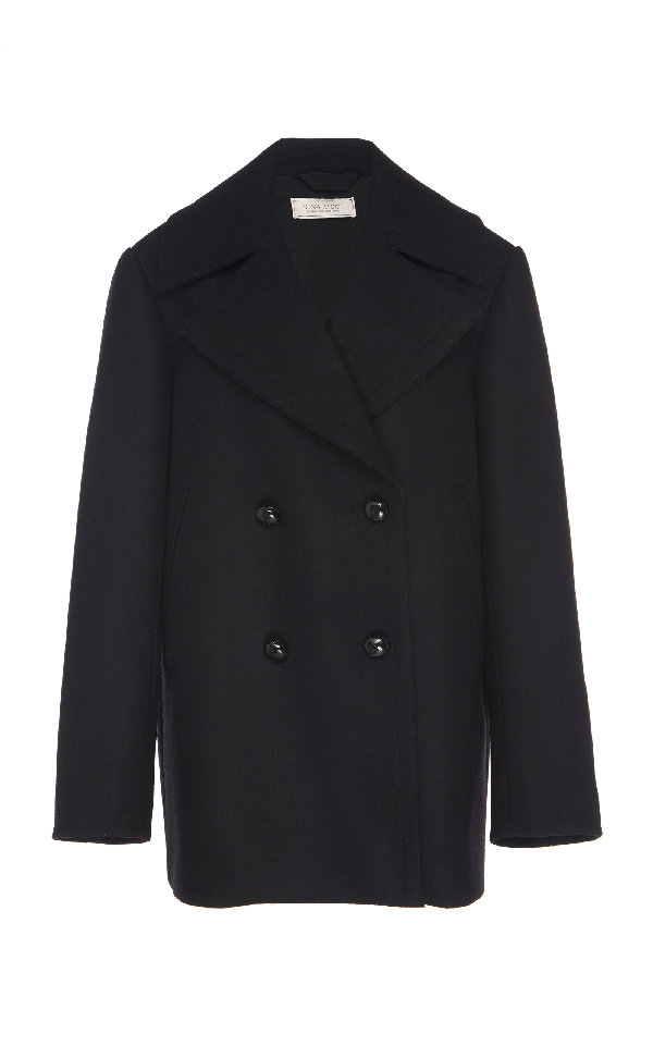 Nina Ricci Wool Sailor Coat In Black