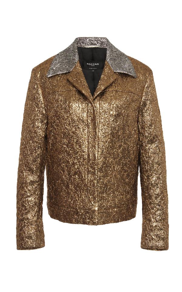 Rochas Metallic Biker Jacket In Gold