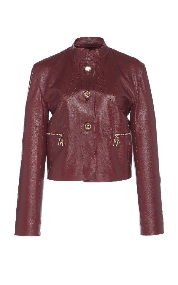 Nina Ricci Leather Jacket In Burgundy