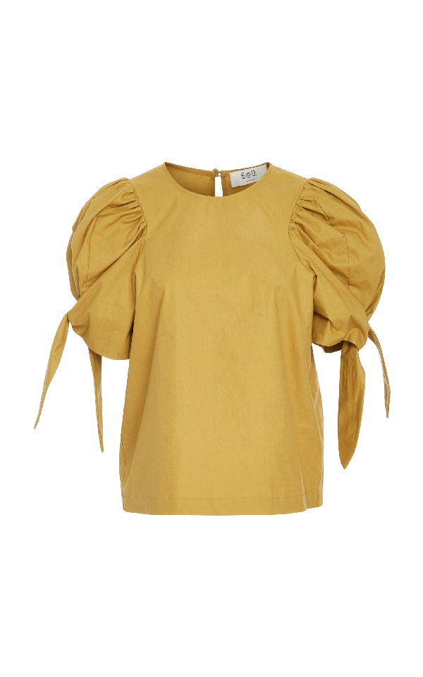 Sea Puff Sleeve Tie Top In Yellow