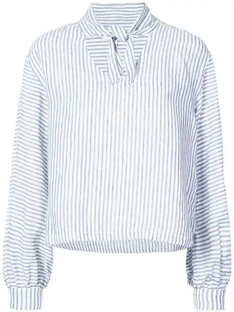 Frame Handkerchief Striped Tie-Neck Linen Top In Blue White
