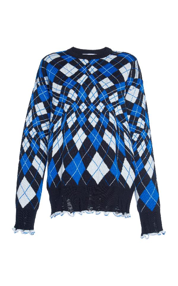 Msgm Oversize Argyle Sweater In Multi