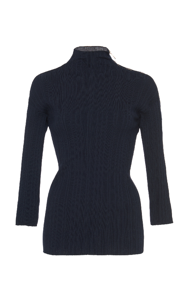 Lanvin Turtleneck Knit Top In Navy