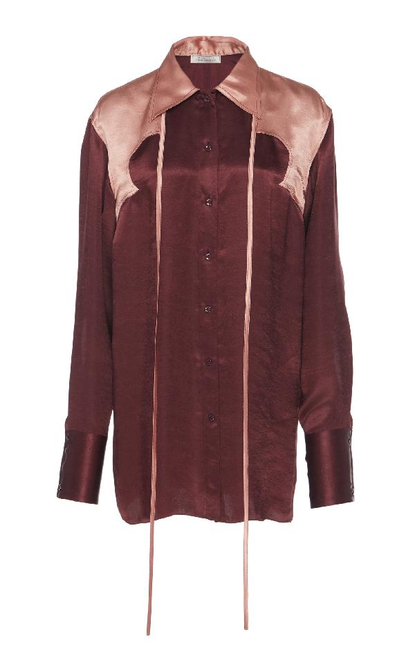 Nina Ricci Crinkled Satin Shirt In Burgundy