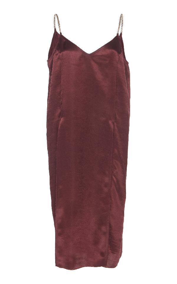 Nina Ricci Crinkled Satin Silk Top In Burgundy