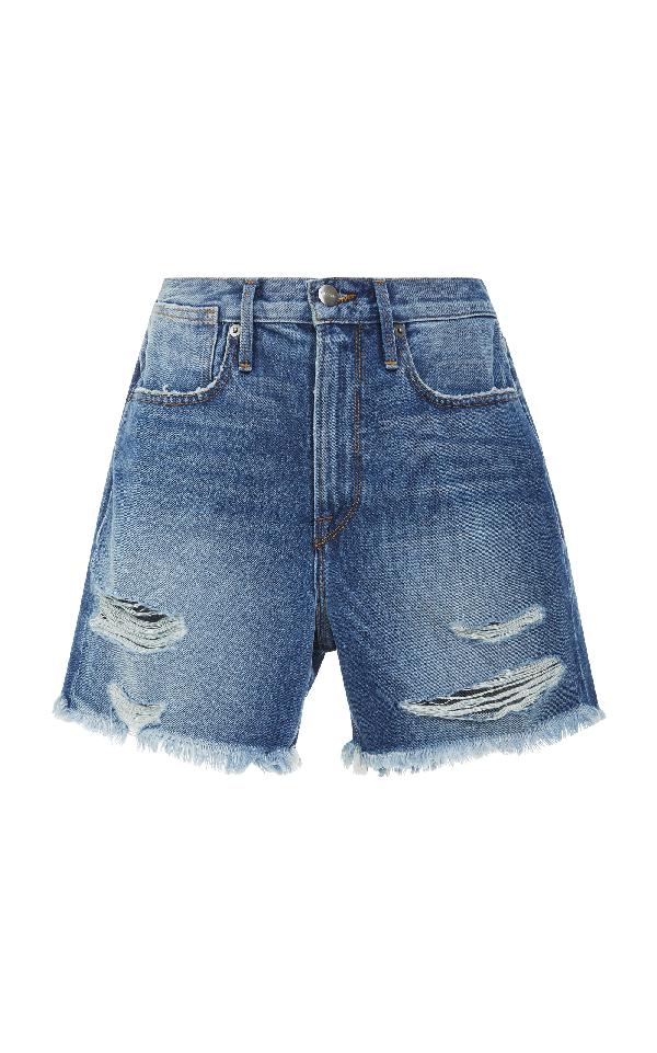 Frame Le Stevie High-rise Denim Shorts In Blue