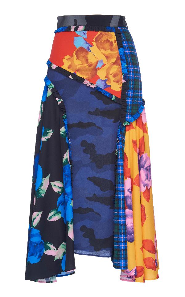 Msgm Patchwork Midi Skirt In Multi