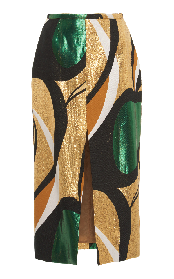 Rochas Printed A Line Skirt In Brown