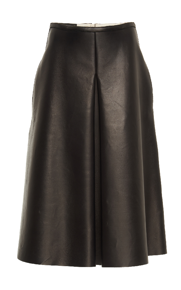 Rochas A Line Leather Skirt In Black