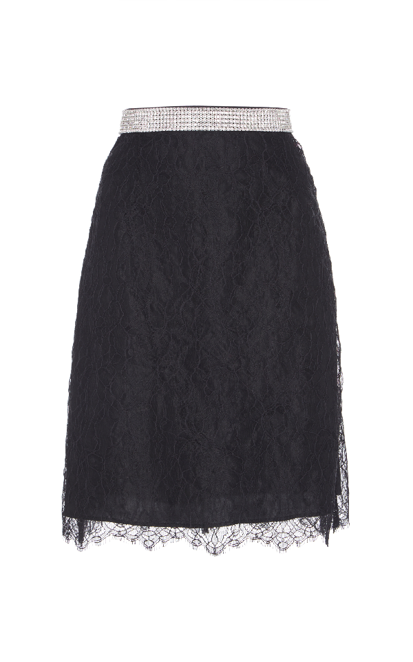 Nina Ricci Belted Lace Skirt In Black