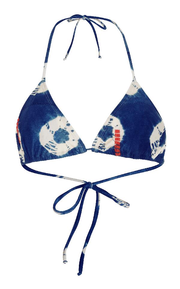 Lenny Niemeyer String Halter Embroidered Bikini Top In Blue