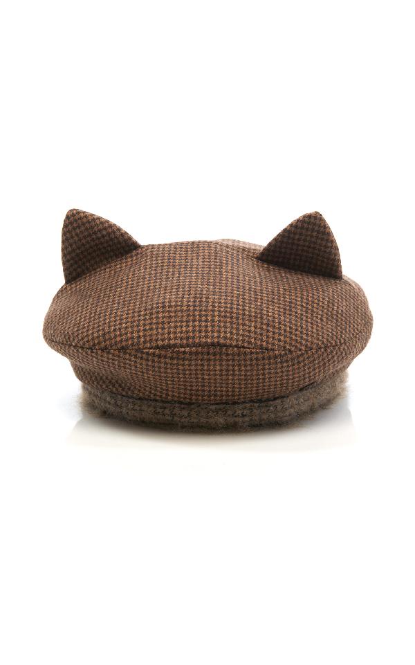 Maison Michel Billy Ears Reversible Wool-blend Hat In Black