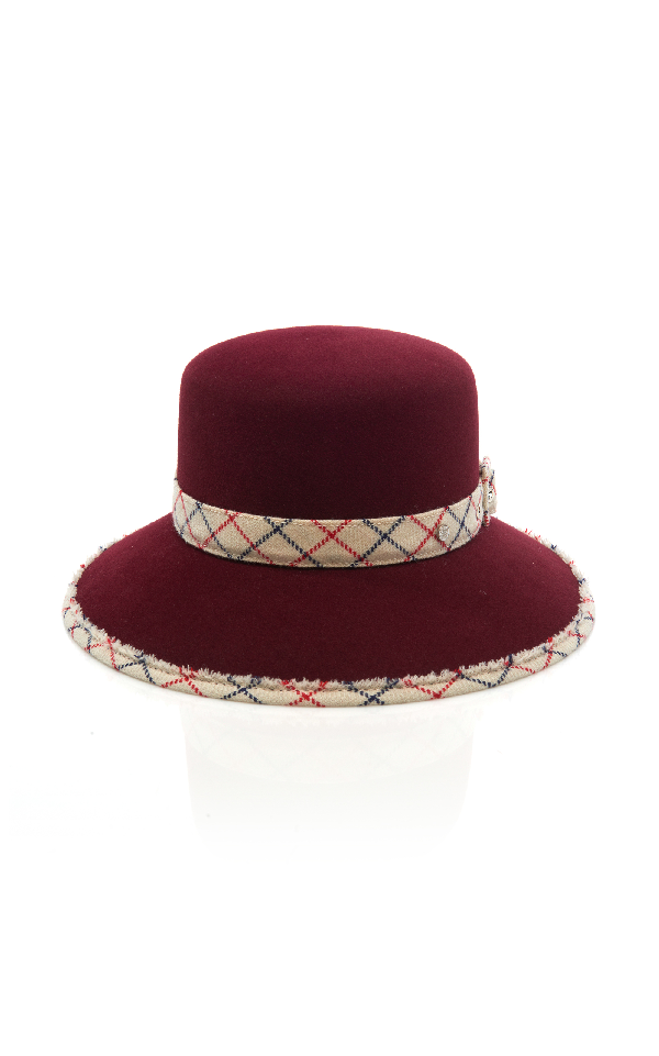 Maison Michel New Kendall Felt Hat In Burgundy