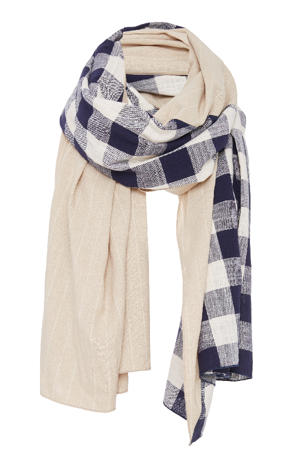 Donni Charm Diagonal Paneled Checked Cotton And Linen Scarf In Navy